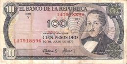 BILLETE DE COLOMBIA DE 100 PESOS DE ORO DEL AÑO 1973  (BANK NOTE) - Colombia