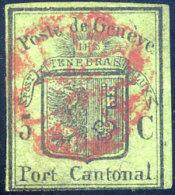 SUISSE GENEVE N° 3 OBLITERE LEGER PELURAGE - 1843-1852 Federal & Cantonal Stamps
