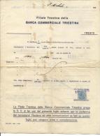 FAT09 - RICEVUTA DELLA FILIALE TRENTINA DELLA BANCA COMMERCIALE TRIESTINA 1924 - MARCHE DA BOLLO - Italia