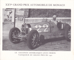 PLAQUETTE POUR EDITION DE TIMBRE MONACO XXV EME GRAND PRIX AUTOMOBILE DE MONACO  CHAMPION CHIRON 1931 CIRCUIT - Stamps