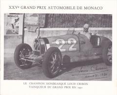 PLAQUETTE POUR EDITION DE TIMBRE MONACO XXV EME GRAND PRIX AUTOMOBILE DE MONACO  CHAMPION CHIRON 1931 CIRCUIT - Timbres