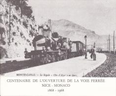 PLAQUETTE POUR EDITION DE TIMBRE MONACO CENTENAIRE DE L OUVERTURE DE LA VOIE FERREE NICE MONACO 1968 - Timbres