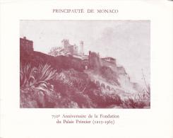 PLAQUETTE POUR EDITION DE TIMBRE MONACO 710 EME ANNIVERSAIRE DE LA FONDATION DU PALAIS PRINCIER 1965 - Stamps