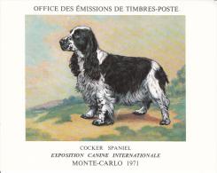 PLAQUETTE POUR EDITION DE TIMBRE MONACO CHIEN COCKER SPANIEL EXPOSITION CANINE MONTE CARLO 1971 - Stamps