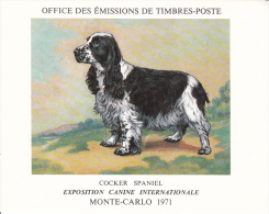 PLAQUETTE POUR EDITION DE TIMBRE MONACO CHIEN COCKER SPANIEL EXPOSITION CANINE MONTE CARLO 1971 - Timbres