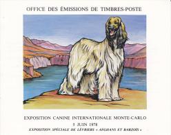 PLAQUETTE POUR EDITION DE TIMBRE MONACO CHIEN LEVRIER AFGHAN BARZOIS EXPOSITION CANINE MONTE CARLO 1978 - Timbres
