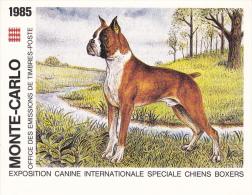 PLAQUETTE POUR EDITION DE TIMBRE MONACO CHIEN BOXERS EXPOSITION CANINE MONTE CARLO 1985 - Stamps