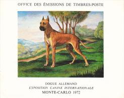 PLAQUETTE POUR EDITION DE TIMBRE MONACO CHIEN DOGUE ALLEMAND EXPOSITION CANINE MONTE CARLO 1972 - Stamps