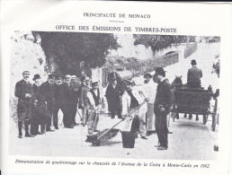 PLAQUETTE POUR EDITION DE TIMBRE MONACO DEMONSTRATION GOUDRONNAGE CHAUSSEE AVENUE DE LA COSTA MONTE CARLO 1902 1970? - Stamps