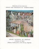 PLAQUETTE POUR EDITION DE TIMBRE MONACO CRECHE NAPOLITAINE MUSEE NATIONAL DE MONACO  1973 - Francobolli