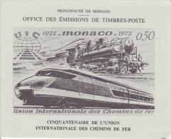 PLAQUETTE POUR EDITION DE TIMBRE MONACO CENTENAIRE DE L UNION INTERNATIONALE DES CHEMINS DE FER 1972 - Stamps