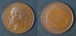Superbe Médaille De Napoléon III Lauré De 1867 Pour L'Exposition Universelle De Paris / Ponscarme Graveur - Professionals/Firms