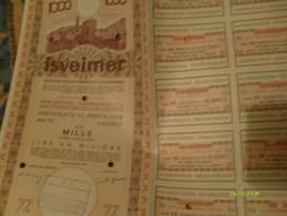 1972 ISVEIMER Istituto Sviluppo Economico Italia Meridionale Obbligazione Lire UN MILIONE + Cedole - Banque & Assurance