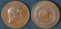 Superbe Médaille De Napoléon III Lauré De 1869 à Gray / BARRE Graveur - Professionnels / De Société