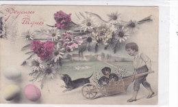 CARD BUONA PASQUA CANI BASSOTTI CARRETTO BIMBO BOUQUET FIORI MARGHERITE GAROFANI  -FP-V -2-0882-17936 - Hunde