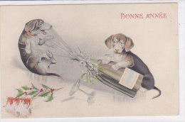 CARD BUON ANNO   CANI BASSOTTI CHAMPAGNE     -FP-V -2-0882-17940 - Chiens