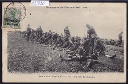 Marocco - Dans Le Bled - Casablanca -halte De Sénégalais - Campagne Du Maroc 1907-08 Timbre Deutsches Reich (12´820) - Casablanca