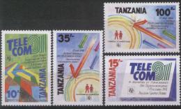 1991 Tanzania - TELECOM 91 4v., Emblem, Logo,     MNH - Telecom
