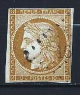 """YT 1 """" Cérès 10c. Bistre Brun """" 1850 Losange Petits Chiffres - 1849-1850 Ceres"""