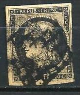 """YT 3 """" Cérès 20c. Noir Sur Jaune """" 1849 Grille De 1850 - 1849-1850 Ceres"""