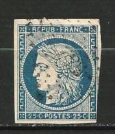 """YT 4 """" Cérès 25c. Bleu """" 1850 Grille De Points - 1849-1850 Cérès"""