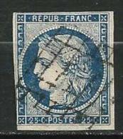 """YT 4 """" Cérès 25c. Bleu Foncé """" 1850 Grille - 1849-1850 Ceres"""