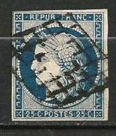 """YT 4 """" Cérès 25c. Bleu Noir """" 1850 Grille - 1849-1850 Cérès"""