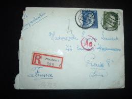 LR POUR LA FRANCE TP 30 + 25 OBL.7.6.43 PFORZHEIM 1 + CENSURE - Marcophilie (Lettres)