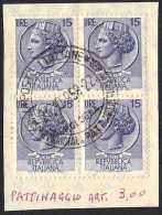 QUARTINA L. 15 LEGGERMENTE INCOLLATA SU FOGLIETTO ANNULLO: 7° CAMPIONATO MONDIALE PATTINAGGIO ARTISTICO DANZA 25.10.1958 - Pattinaggio Artistico