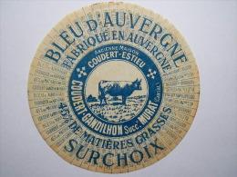 TGE15005 / étiquette De Fromage Bleu D´Auvergne - Coudert - Gandilhon Successeur à MURAT - Cantal 15 - Formaggio