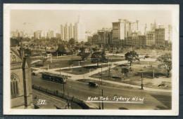 1935 Australia Sydney - Hyde Park - Tram - RP Postcard - Sydney