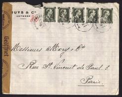 1941  Lettre Censurée Pour La France  COB 480 X5  Perforés Perfins R&C Ruys & Co Antwerp - 1934-51