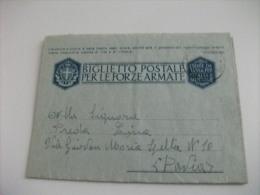 STORIA POSTALE BIGLIETTO POSTALE PER LE FORZE ARMATE  COMANDO DIVISIONE FANTERIA MURGE QUARTIER GENERALE - 1900-44 Vittorio Emanuele III