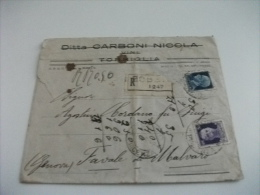 STORIA POSTALE ITALIANA BUSTA RACCOMANDATA  DITTA CARBONI NICOLA VINI TORRIGLIA  TIMBRO PIACENZA - GENOVA - 1900-44 Vittorio Emanuele III