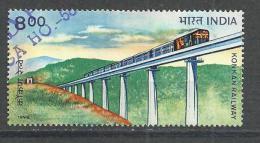 INDIA 1998 - KONKAN RAILWAY - USED OBLITERE GESTEMPELT USADO - Trains