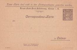 Carte De Correspondance De La Poste Locale De COLMAR - Neuve - Alsace-Lorraine