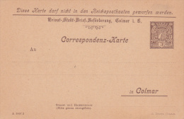 Carte De Correspondance De La Poste Locale De COLMAR - Neuve - Elsass-Lothringen