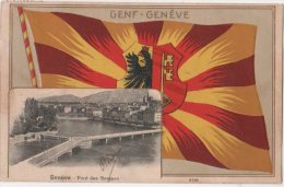 Suisse CP GENF , GENEVE Pont Des Bergues Obliteration LES PLANS  GENEVE EXP LETT 1909 - GE Genève