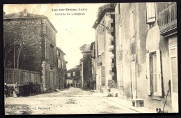 CPA ANCIENNE- FRANCE- LUC-SUR-ORBIEU (11)- AVENUE DE LÉZIGNAN EN TRES GROS PLAN AVEC ANIMATION - Autres Communes