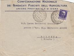 SIENA 1931 - CONFEDERAZIONE NAZIONALE SINDACATI FASCISTI DELL'AGRICOLTURA  -   L2401 - Storia Postale