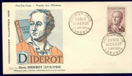 FRANCE 1958 FDC YV 1168 CELEBRITIES, DENIS DIDEROT, PHILOSOPHER, OBLITE LANGRES 07-06-1958. - FDC
