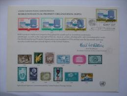 UNITED NATIONS FDC SOUVENIR CARD NEW YORK POSTMARK WORLD INTELLECTUAL PROPERTY ORGANIZATION 1977 - New York - Sede De La Organización De Las NU