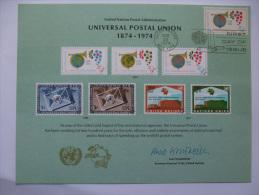 UNITED NATIONS FDC SOUVENIR CARD NEW YORK POSTMARK UNIVERSAL POSTAL UNION 1974 - New York – UN Headquarters