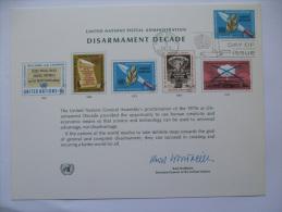 UNITED NATIONS FDC SOUVENIR CARD NEW YORK POSTMARK DISARMAMENT DECADE 1973 - New York - Sede De La Organización De Las NU