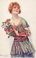Illustrée Signée S. BOMPARD : Femme Aux Roses - Femmes
