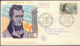 FRANCE 1963 FDC YV 1375 ALFRED DE VIGNY, POET, ECRIVAIN, DICHTER, WRITER, OBLITE 25-05-1963. - FDC