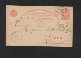 Hungary Stationery 1891 To Narva Estonia - Postwaardestukken
