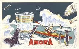 Buvard Vloeipapier Moutarde De Dijon Amora - Eskimo - Buvards, Protège-cahiers Illustrés
