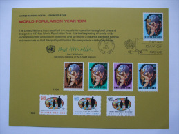 UNITED NATIONS FDC SOUVENIR CARD NEW YORK POSTMARK WORLD POPULATION YEAR 1974 - Unclassified