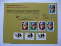 UNITED NATIONS FDC SOUVENIR CARD NEW YORK POSTMARK WORLD POPULATION YEAR 1974 - New York – UN Headquarters